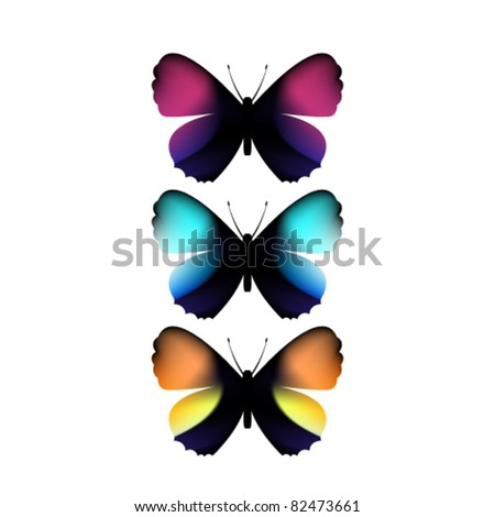 set of colorful butterflies - stock vector