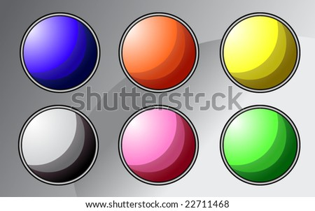 Set of colorful buttons - vector