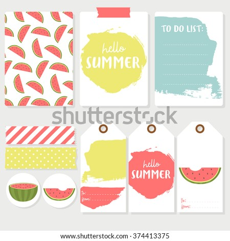 Set of colorful cards, labels and tapes with watermelon and hello summer text message. Lovely summer design. Template for scrap booking, wrapping, congratulations, invitations, printable card.  - stock vector