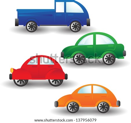 set of colorful cartoon cars - stock vector
