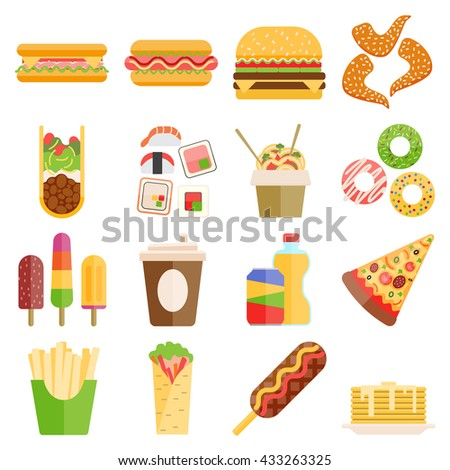 Set of colorful cartoon fast food icons. Isolated fast food vector. Fast food hamburger dinner and restaurant, tasty fast food unhealthy meal and unhealthy fast food classic nutrition. - stock vector