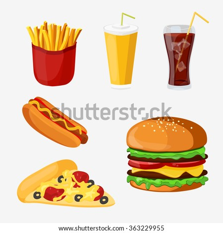 Set of colorful cartoon fast food products