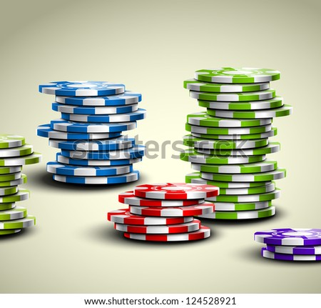 Set of colorful casino chips. Eps 10 - stock vector