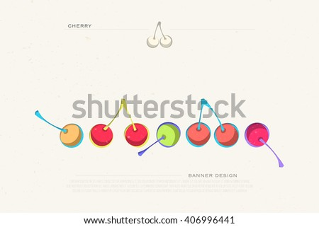 set of colorful cherry icons isolated on white background. vector fresh fruit banner design. cool, delicious natural product package template.  - stock vector