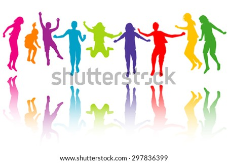 Set of colorful children silhouettes jumping - stock vector