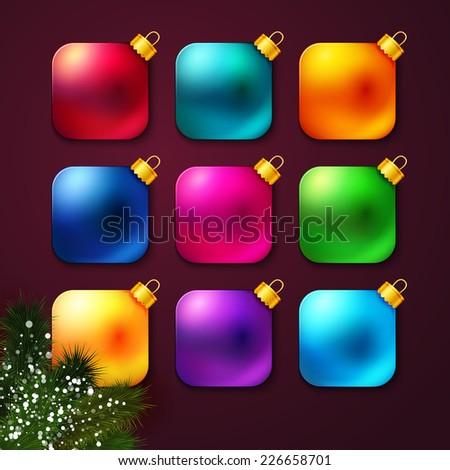Set of colorful Christmas balls stylized like mobile app. Vector illustration. - stock vector
