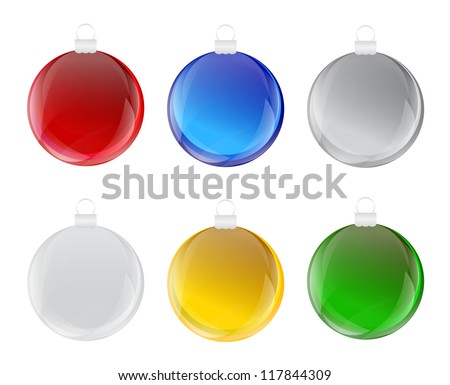 Set of colorful christmas bulb with glass effect Vector - stock vector