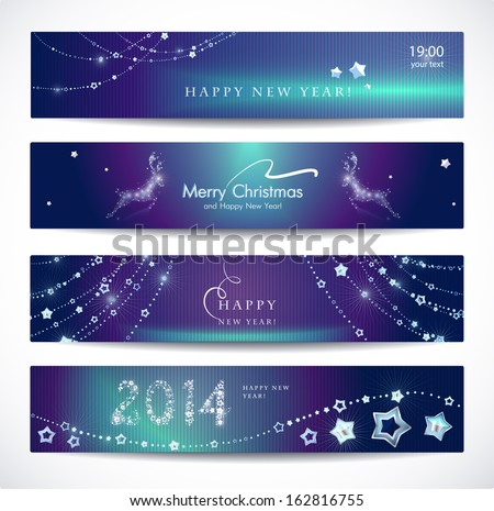 Set of colorful Christmas, New Year banners.  - stock vector