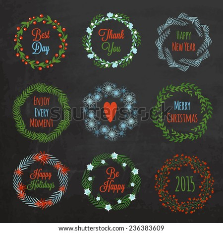 Set of colorful Christmas wreaths on chalkboard texture - stock vector