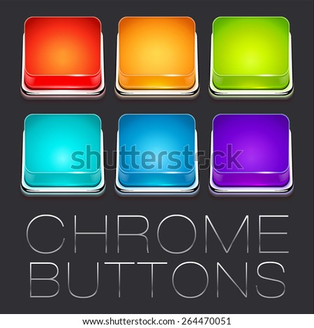 Set of Colorful Chrome Buttons, vector icons - stock vector