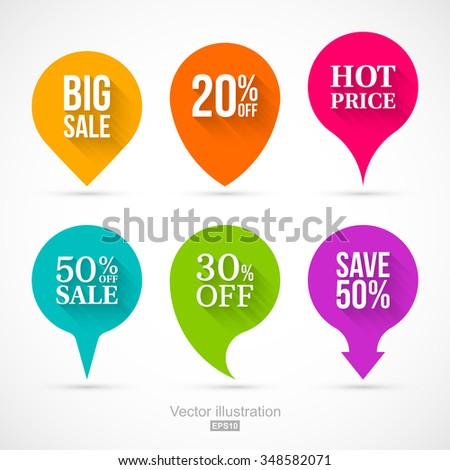 Set of colorful circle sale pointers. Easy to change colors. - stock vector