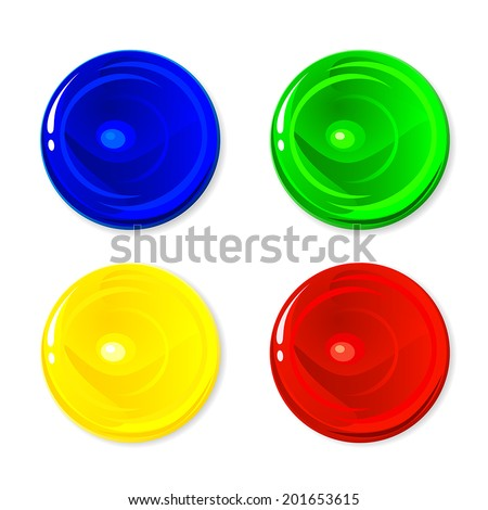 Set of colorful circles isolated on white background, illustration - stock vector