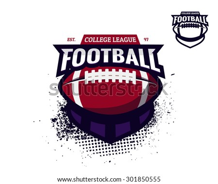 Set of colorful college american football logo labels with bonus black and white version. Vector abstract illustration. - stock vector