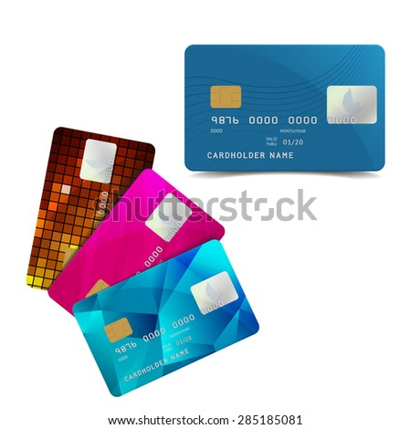 Set of Colorful Credit Cards Isolated on White. Vector Illustration of Plastic Bank Card with Pigeon. Cashless Payment Icon. - stock vector