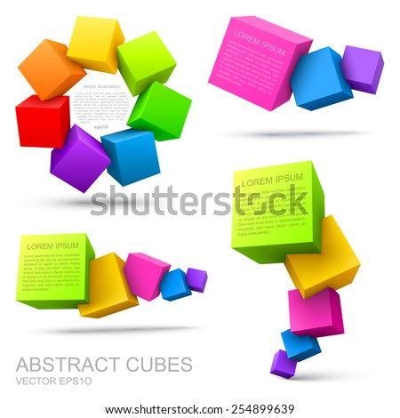 Set of colorful cubes 3D. - stock vector