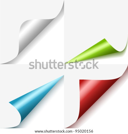 Set of colorful curled corners - stock vector