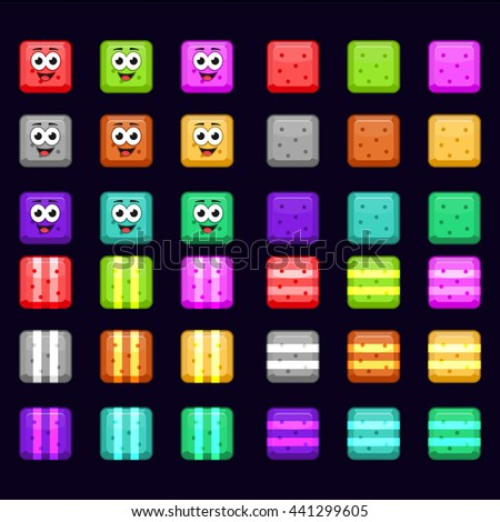 Set of colorful cute blocks for a match 3 or a puzzle game