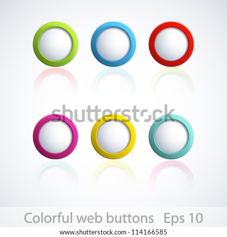 Set of colorful 3d buttons. Vector illustration. - stock vector