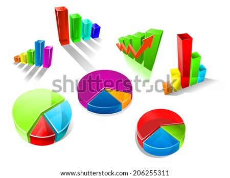 Set of colorful 3d graphs and charts logo with seven different bar graphs and pie charts with shadows or reflections - stock vector