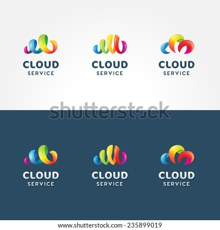 Set of colorful 3d iconic logo templates for cloud service | Collection of vector cloud icons isolated on both white and blue background - stock vector