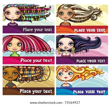 Set of colorful decorative business cards featuring attractive girls with stylish hair styles. Space for your information. - stock vector