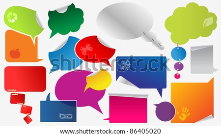 set of colorful dialog boxes and stickers - stock vector