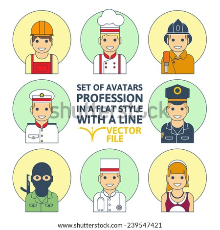 Set of colorful Different profession people flat style icons in circles vector illustration - stock vector