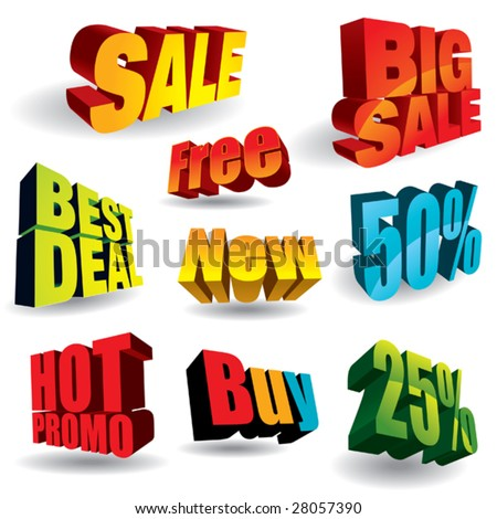 Set of colorful discount slogans. - stock vector