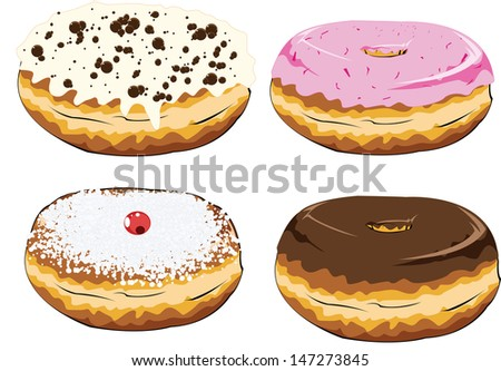 set of colorful donuts - stock vector
