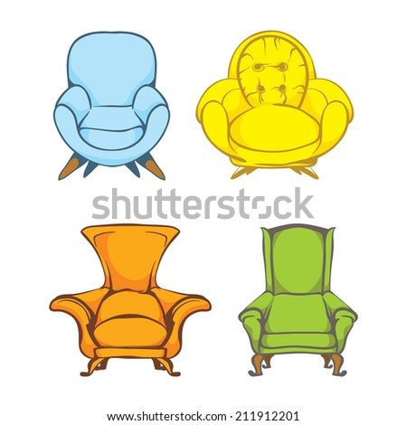 set of colorful doodle armchairs  - stock vector