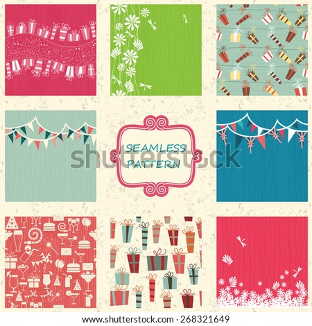 set of 8 colorful doodle seamless pattern with birthday party elements and presents - stock vector