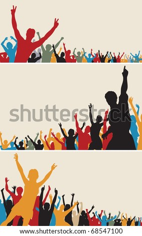 Set of colorful editable vector crowd silhouettes - stock vector