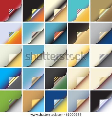 Set of colorful editable vector peeling corners of paper - stock vector