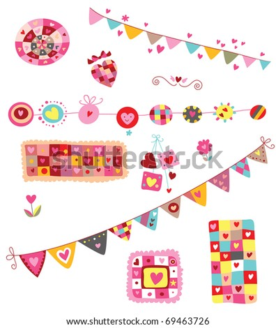 Set of colorful elements with hearts, perfects for Valentine's Day. It includes two decorative banners. Whimsical, cheerful shapes and colors. - stock vector