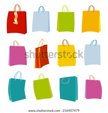 Set of Colorful Empty Shopping Bags Isolated in White. Vector
