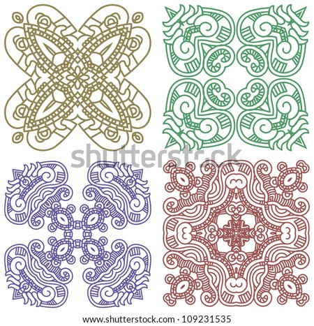 Set of colorful ethnicity square ornament, mosaic vector illustration