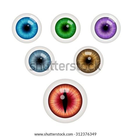 Set of colorful eye balls. Green eye ball. Blue eye. Grey eye. Red eye. Purple eye. Brown eye. Vector illustration isolated on white - stock vector