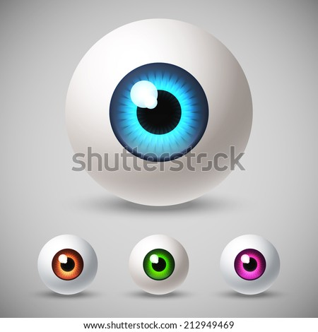 Set of colorful eye balls. Vector illustration. - stock vector