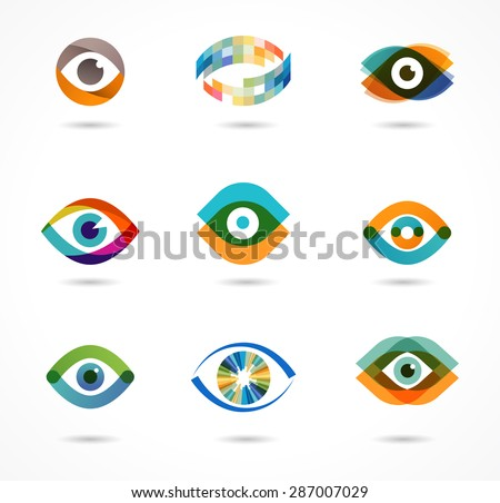 Set of colorful eye icons  - stock vector