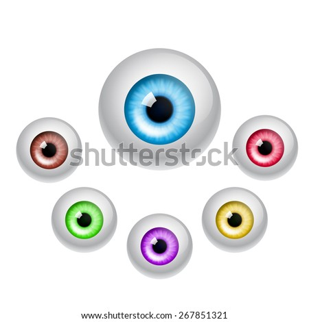Set of colorful eyes isolated on white background. EPS10 vector. - stock vector