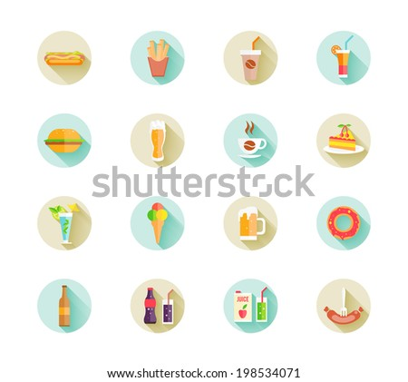 Set of colorful fast food icons - stock vector