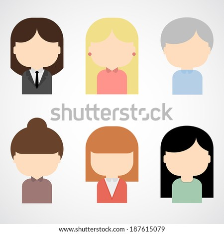 Set of colorful female faces icons. Trendy flat style - stock vector