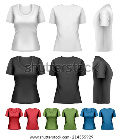 Set of colorful female t-shirts. Vector. - stock vector