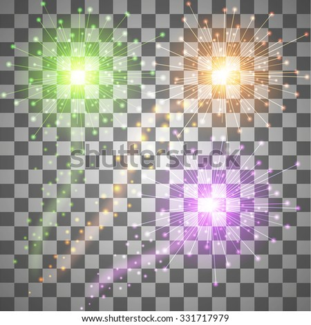 Set of colorful fireworks. Vector Illustration - stock vector