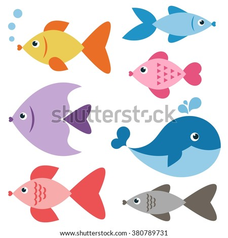 Set of colorful fishes