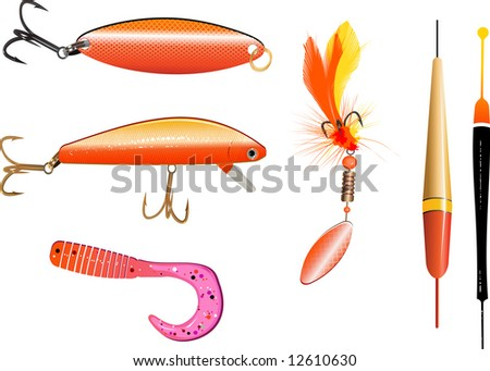 Set of colorful fishing lures and floats - stock vector