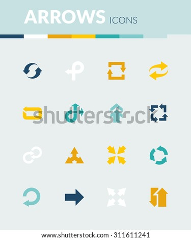 Set of colorful flat icons about arrows - stock vector