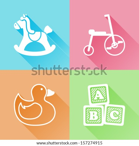 Set of colorful flat icons about baby toys - stock vector