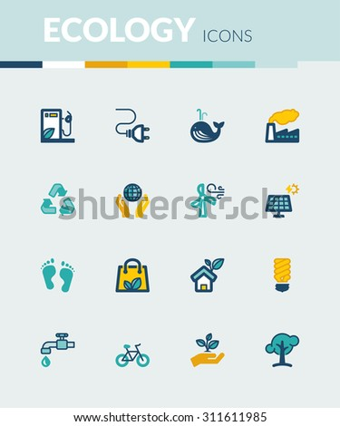 Set of colorful flat icons about ecology - stock vector