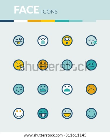 Set of colorful flat icons about face - stock vector